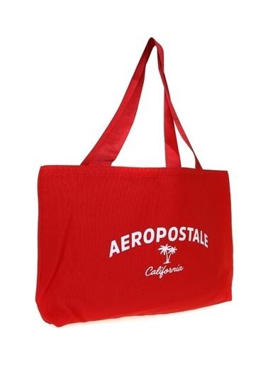 Aeropostale Aereopostale Omuz Askılı Desenli Plaj Çantası Kırmızı